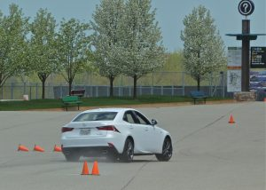 swerving around cones